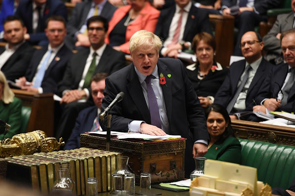 Britain's Prime Minister Boris Johnson speaks at the House of Commons in London, Britain October 30, 2019. ©UK Parliament/Jessica Taylor/Handout via REUTERS ATTENTION EDITORS - THIS IMAGE WAS PROVIDED BY A THIRD PARTY