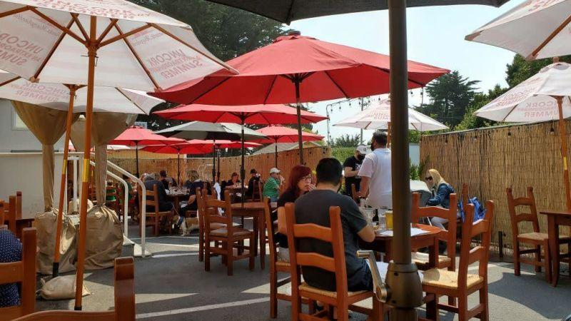 An example of outdoor dining space within a converted parking lot, Half Moon Bay, California (August 2020)