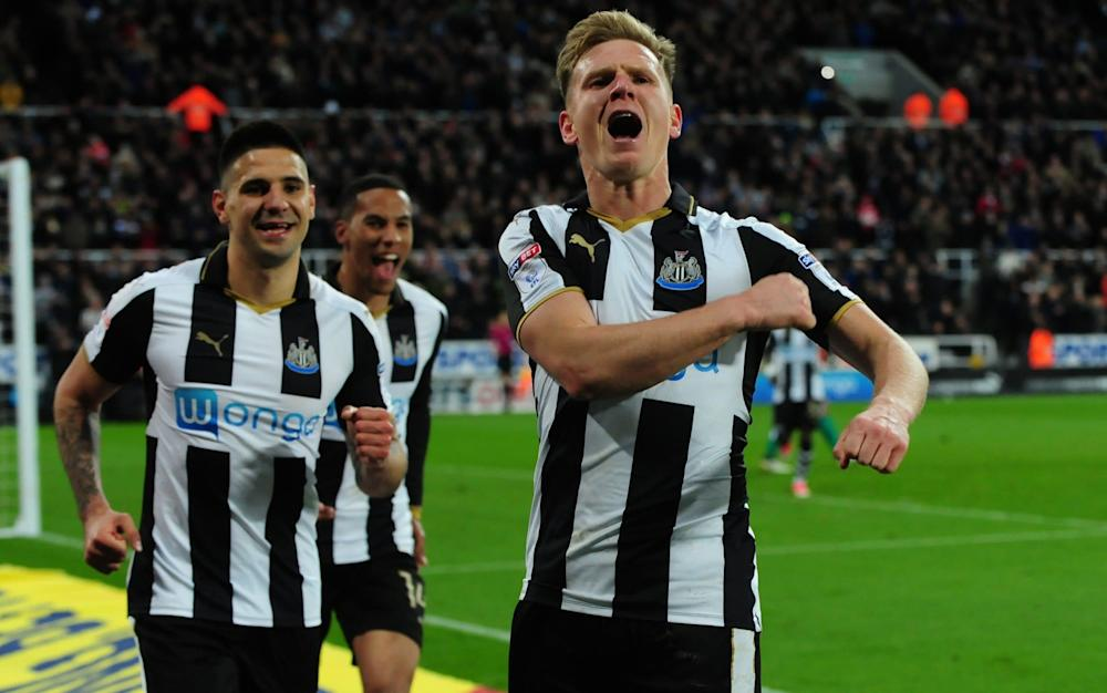 Matt Ritchie scores the third from the spot and sprints to the Gallowgate - Credit: TGSPhoto/REX/Shutterstock Source: Rex Features