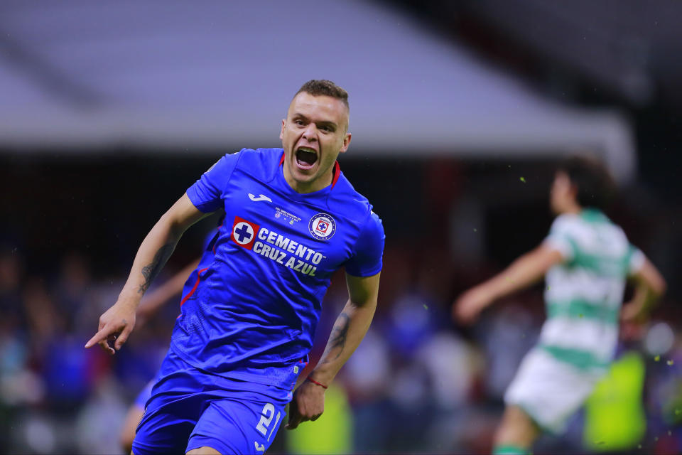 MEXICO CITY, MEXICO - MAY 30: Jonathan Rodriguez of Cruz Azul celebrates after scoring his team's first goal during the Final second leg match between Cruz Azul and Santos Laguna as part of Torneo Guard1anes 2021 Liga MX at Azteca Stadium on May 30, 2021 in Mexico City, Mexico. (Photo by Mauricio Salas/Jam Media/Getty Images)