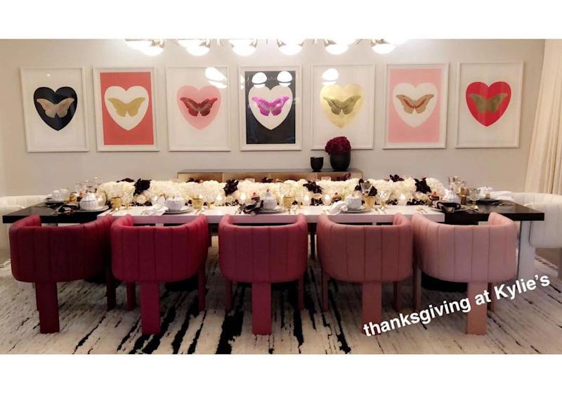 While pregnant, Kylie once again took up the hosting duties for last year's Thanksgiving, this time with a hint of a Valentine's Day theme.