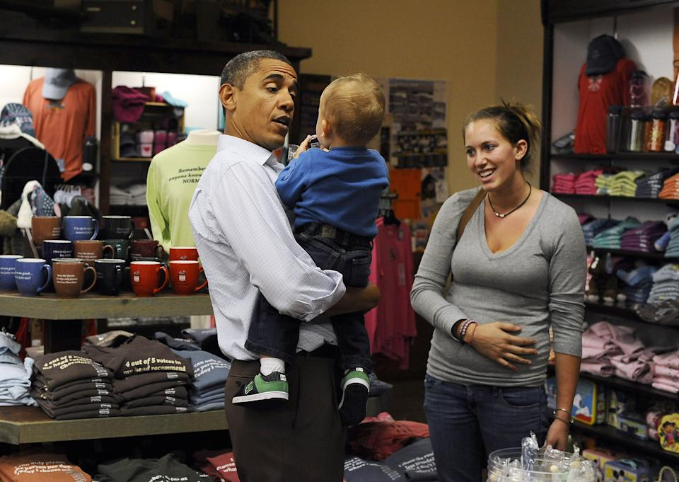 Barack Obama with mother and toddler