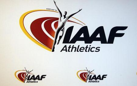 The logo of the International Association of Athletics Federations (IAAF) is seen in Monaco