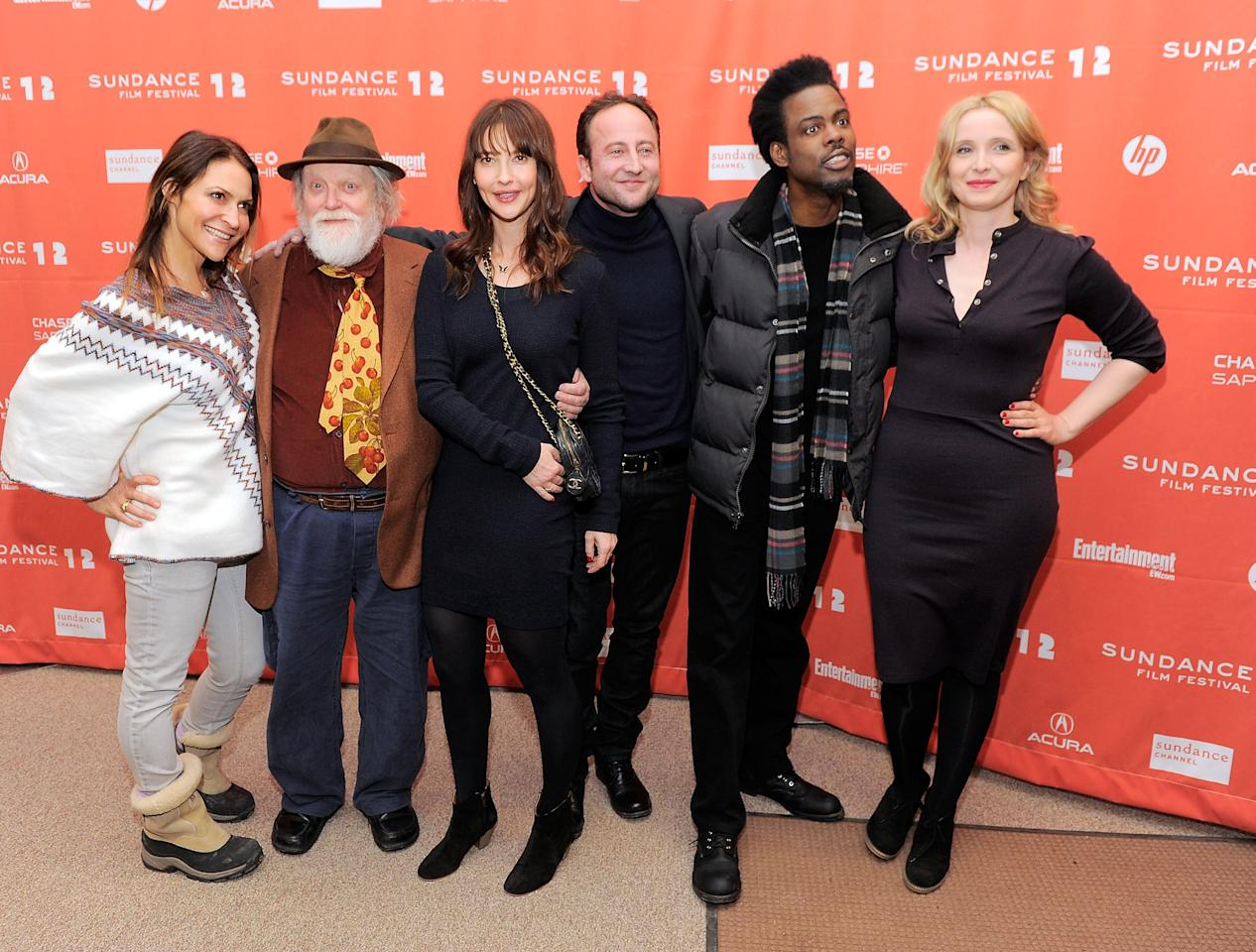 """PARK CITY, UT - JANUARY 23:  (L-R) Actors Emily Wagner, Albert Delpy, Alexia Landeau, Alexandre Nahon, Chris Rock and Julie Delpy attend the """"2 Days In New York"""" premiere during the 2012 Sundance Film Festival held at Eccles Center Theatre on January 23, 2012 in Park City, Utah.  (Photo by Jemal Countess/Getty Images)"""