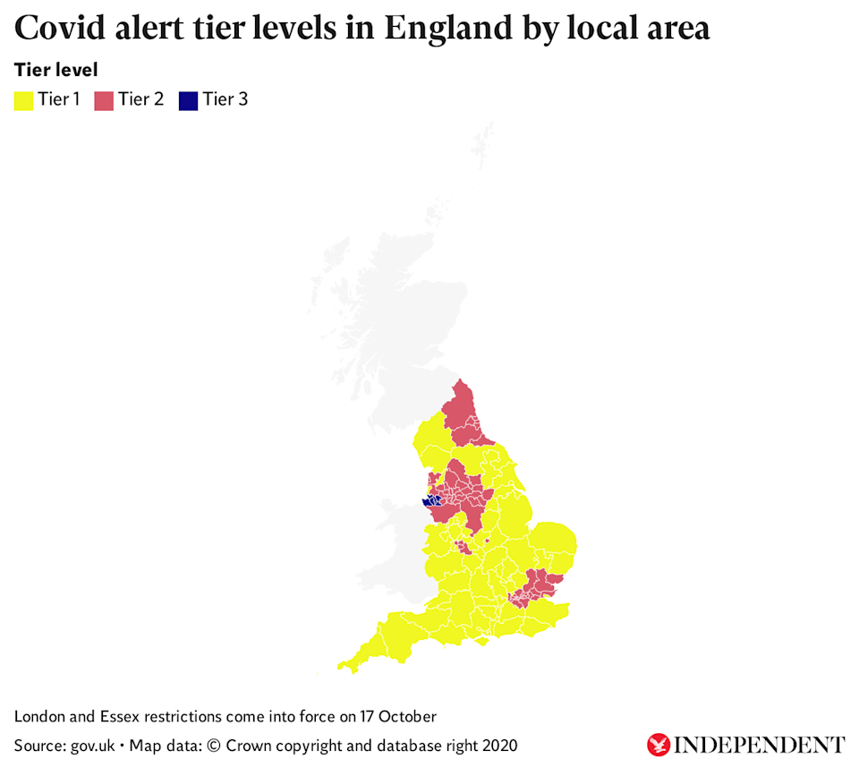 Covid alert tier levels in England by local areaThe Independent