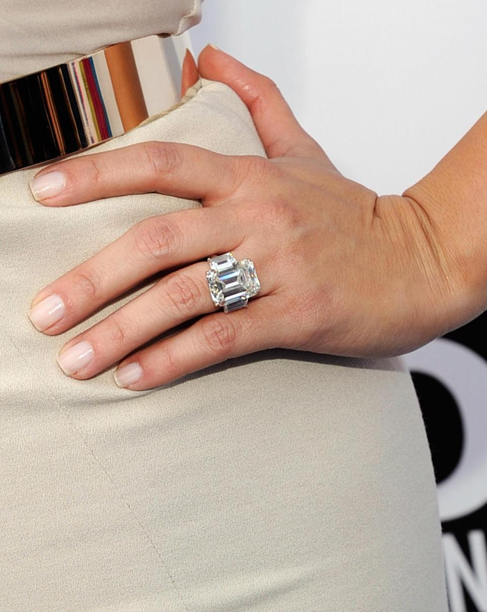 <p>Kim K's first marriage only lasted 72 days. Unfortunately, she didn't get to keep the £1.5 million ring Kris Humphries gave her. <i>[Photo: Getty]</i> </p>