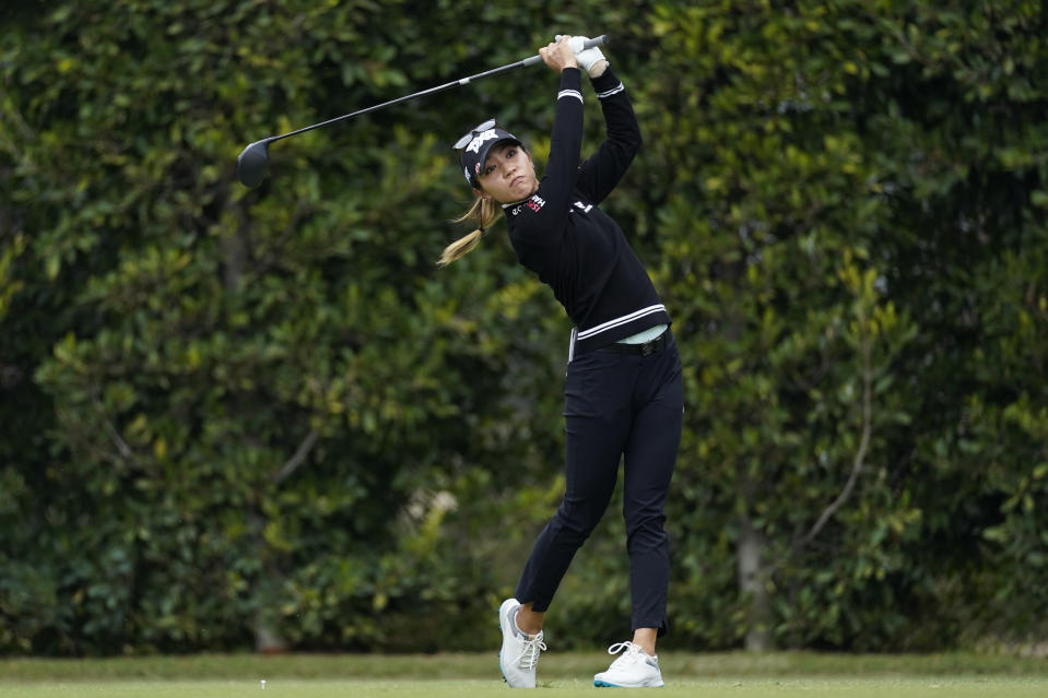 Lydia Ko tees off from the second hole during the first round of the LPGA's Hugel-Air Premia LA Open golf tournament at Wilshire Country Club Wednesday, April 21, 2021, in Los Angeles. (AP Photo/Ashley Landis)