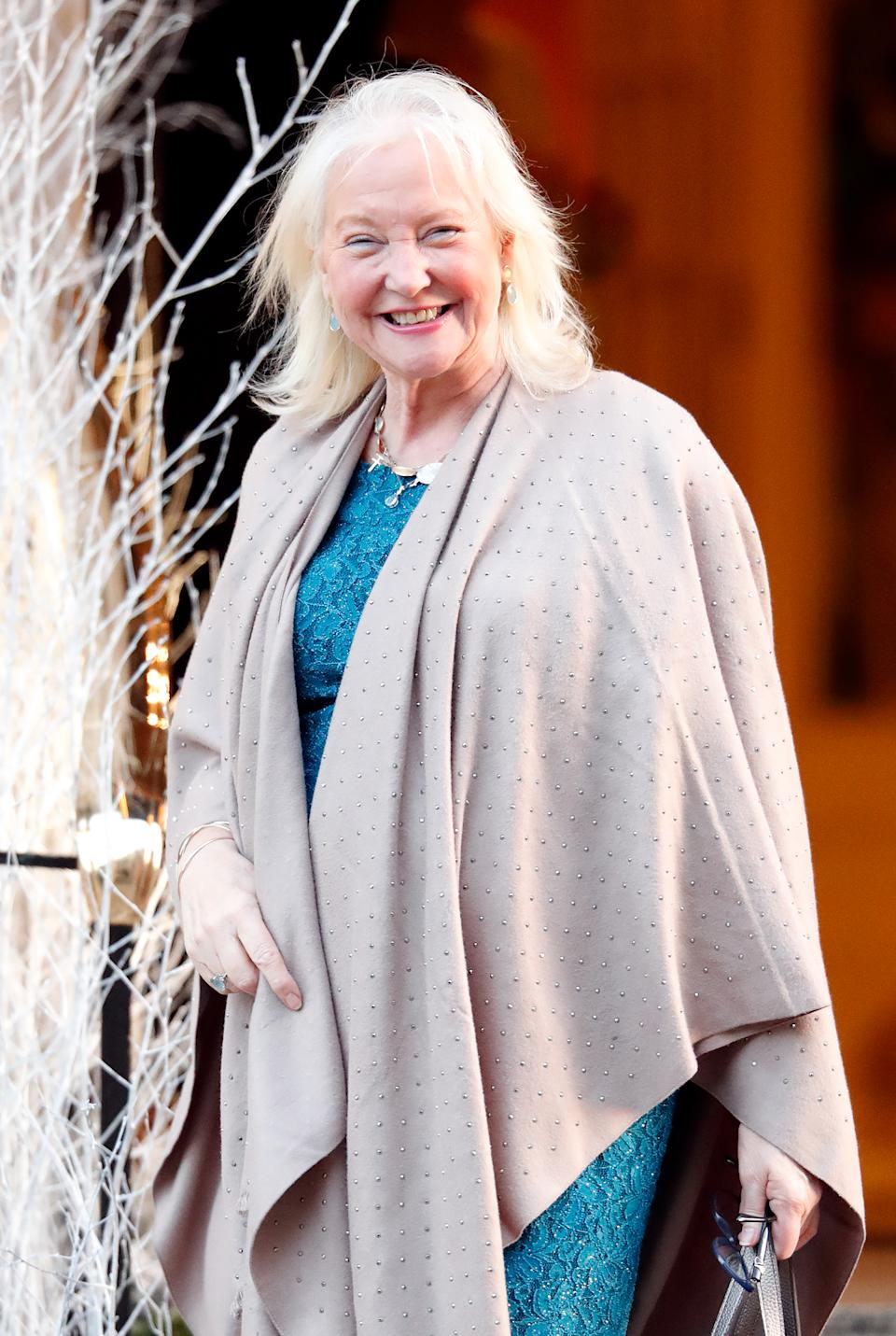 LONDON, UNITED KINGDOM - DECEMBER 11: (EMBARGOED FOR PUBLICATION IN UK NEWSPAPERS UNTIL 24 HOURS AFTER CREATE DATE AND TIME) Angela Kelly (Personal Assistant and Dress Maker to Queen Elizabeth II) leaves the Goring Hotel after attending a Christmas lunch hosted by The Queen for her close members of staff on December 11, 2018 in London, England. (Photo by Max Mumby/Indigo/Getty Images)