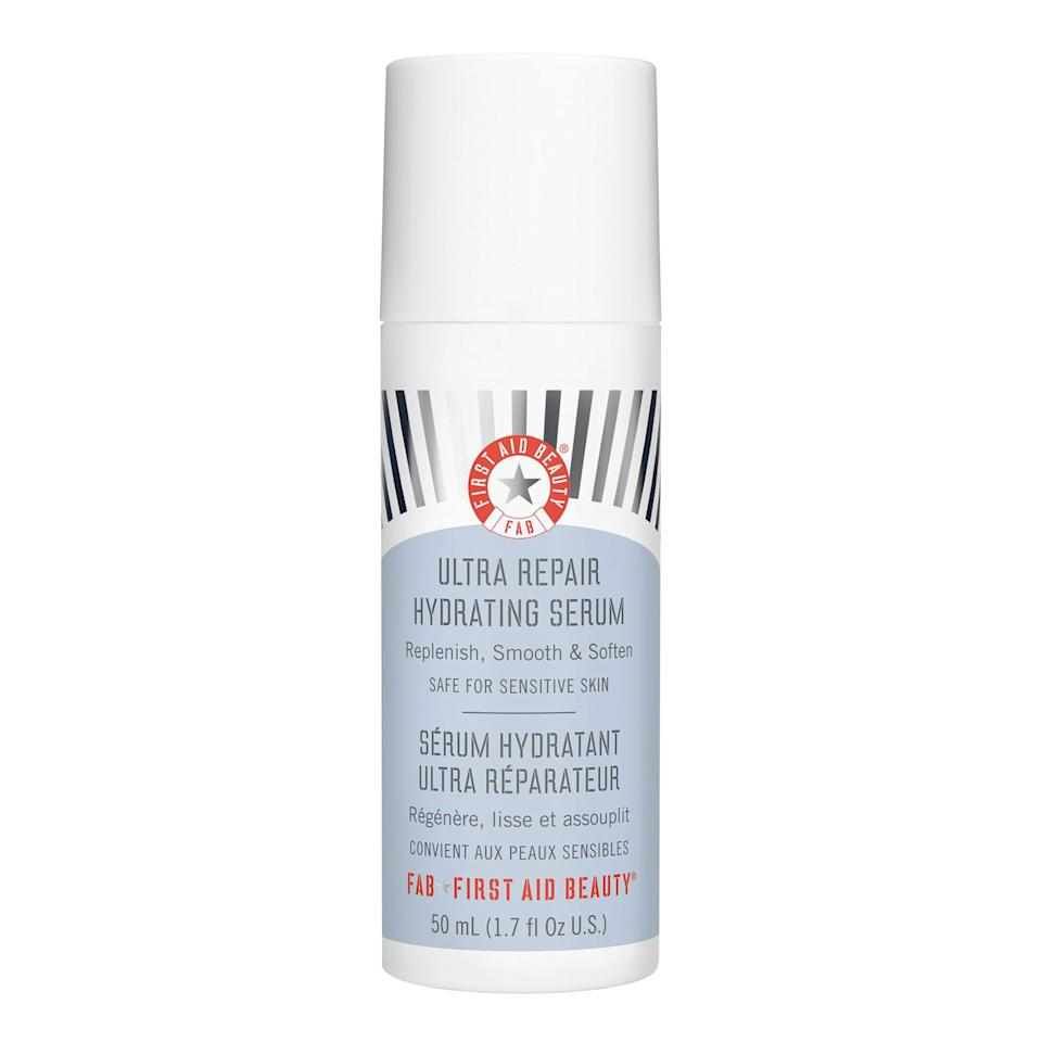 """<p>First Aid Beauty's Ultra Repair Hydrating Serum is ideal for <em>all</em> skin types — even the most sensitive and easily irritated. Additionally, it features colloidal oatmeal as well as aloe leaf juice as an added skin-soothing bonus. With just a few uses, you'll notice your complexion looking plumper, juicier, and calmer all around.</p> <p><strong>$38</strong> (<a href=""""https://shop-links.co/1677561834148959907"""" rel=""""nofollow"""">Shop Now</a>)</p>"""