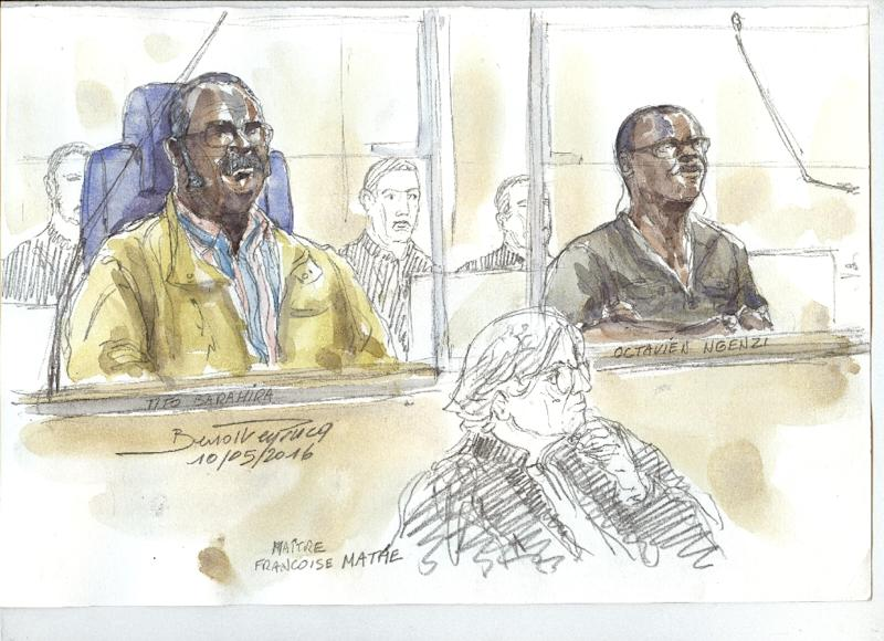 A courtroom sketch from their 2016 trial shows  Barahira and Ngenzi, who were judged under universal jurisdiction which lets states rule on serious crimes regardless of nationality or where the wrongdoing was committed
