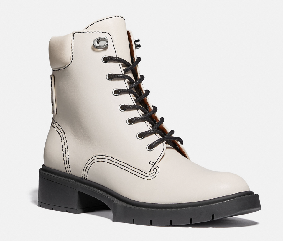 white leather coach Lorimer Bootie with black heel