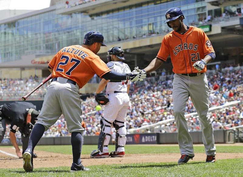 Carter, Singleton power Astros past Twins, 14-5