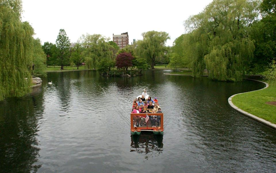 A swan boat makes its way around a pond at the Boston Public Garden, Tuesday, May 23, 2006, in Boston.