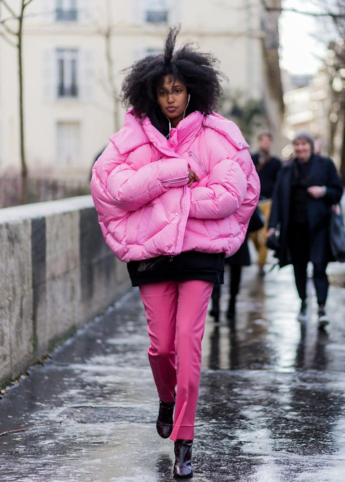 <p>Go bold in color and in silhouette with an oversized pink puffer this winter. </p>