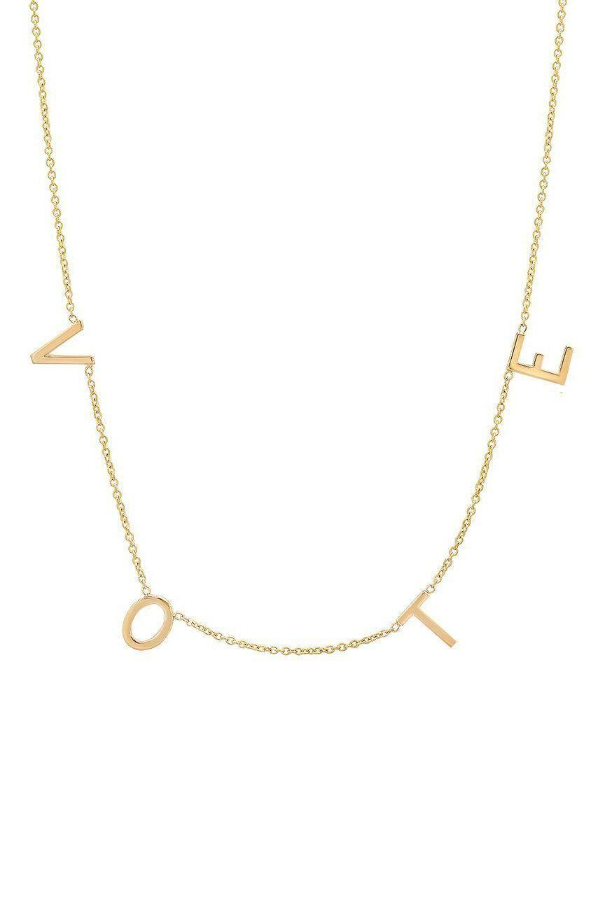 """<p><strong>By Chari</strong></p><p>bychari.com</p><p><strong>$295.00</strong></p><p><a href=""""https://bychari.com/products/the-original-spaced-letter-necklace-vote"""" rel=""""nofollow noopener"""" target=""""_blank"""" data-ylk=""""slk:SHOP IT"""" class=""""link rapid-noclick-resp"""">SHOP IT</a></p><p>Everyone was obsessed with Michelle Obama's """"Vote"""" necklace, displayed here, that she wore during her speech at the Democratic National Convention (DNC). </p>"""