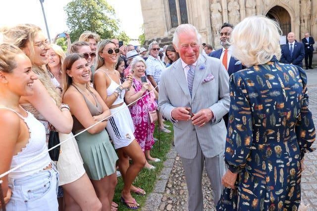 Prince Charles met wellwishers during a visit to Exeter Cathedral in Devon