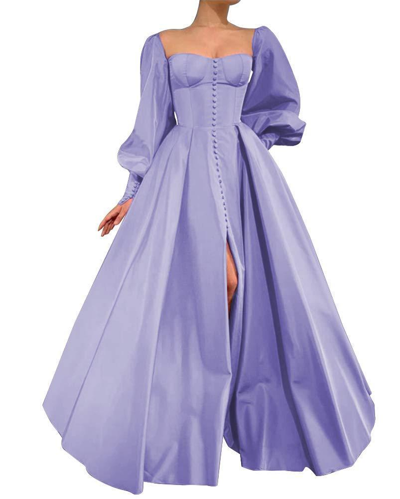 """<h2>GMAR Satin Ballgown In Lavender</h2><br>Leave it to Amazon to supply us with a sweeping """"satin"""" ballgown complete with cotton-candy-fluffy sleeves and a bust-boosting neckline. It's part Victorian dress, part futuristic frock ... and fully under $100? Based on the 4.5-star rating and the flattering customer photos, we're ready to take this dress for a spin. (PS: Is this electric shade of lilac not quite your speed? Not to worry — in true Amazon fashion, the made-to-order dress is available in <em>40</em> colors. That's four-zero.)<br><br><em>Shop GMAR on <strong><a href=""""https://www.amazon.com/s?rh=n%3A7141123011%2Cp_4%3AGMAR&ref=bl_sl_s_ap_web_7141123011"""" rel=""""nofollow noopener"""" target=""""_blank"""" data-ylk=""""slk:Amazon"""" class=""""link rapid-noclick-resp"""">Amazon</a></strong></em><br><br><strong>GMAR</strong> Satin Ballgown, $, available at <a href=""""https://amzn.to/3vXeLa7"""" rel=""""nofollow noopener"""" target=""""_blank"""" data-ylk=""""slk:Amazon"""" class=""""link rapid-noclick-resp"""">Amazon</a>"""