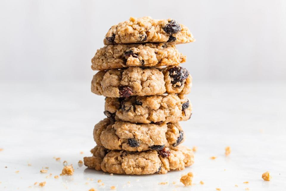 """<p>This classic is always nice to have on hand.</p><p>Get the recipe from <a href=""""https://www.delish.com/cooking/recipe-ideas/a19885250/best-oatmeal-raisin-cookies-recipe/"""" rel=""""nofollow noopener"""" target=""""_blank"""" data-ylk=""""slk:Delish"""" class=""""link rapid-noclick-resp"""">Delish</a>.</p>"""