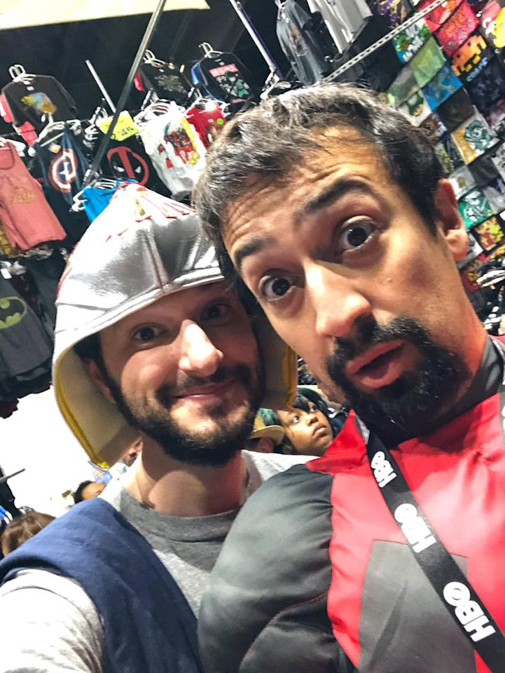 "<i>DuckTales </i>costars Lin-Manuel Miranda and Ben Schwartz managed to keep a low profile at Comic-Con by wearing a Deadpool suit and luchador mask respectively. The pals <a href=""https://twitter.com/rejectedjokes/status/1152757386978848768"">shared photos and videos</a> of their adventures on Twitter (once they were safely out of sight, of course)."