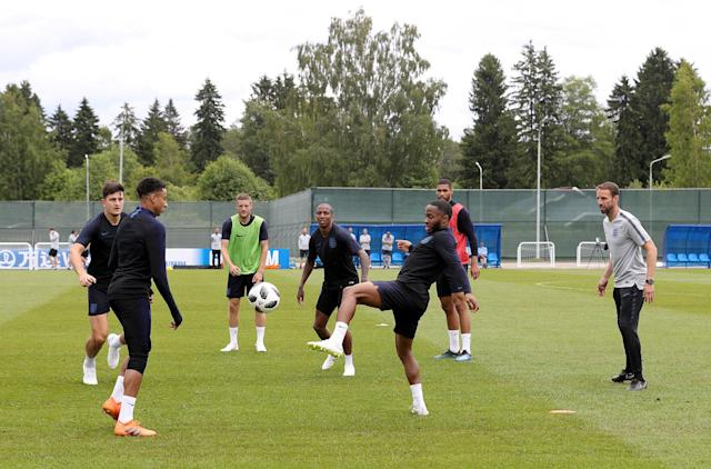 England's players train at their base in Repino as they prepare for the tournament. (PA)