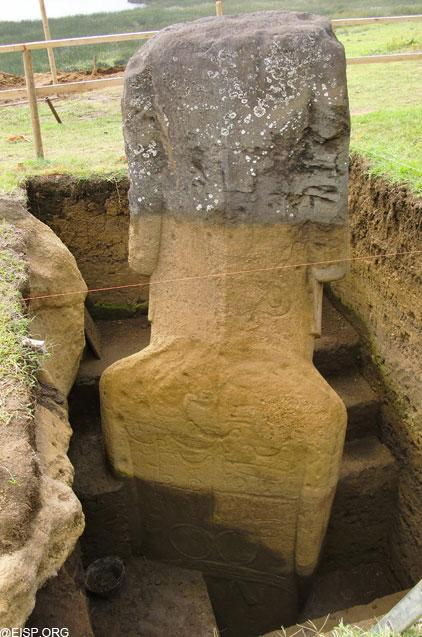 """This photo shows the exposed back of statue RR - 001 - 156. <br> <a href=""""http://www.eisp.org/"""" rel=""""nofollow noopener"""" target=""""_blank"""" data-ylk=""""slk:For more information visit the Easter Island Statue Project"""" class=""""link rapid-noclick-resp"""">For more information visit the Easter Island Statue Project</a>"""