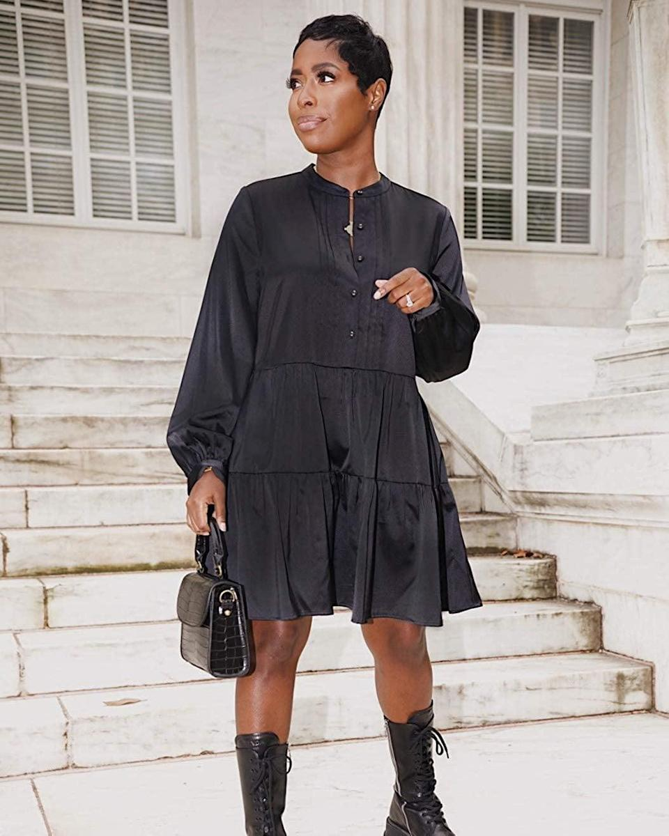 <p><span>The Drop Black Button-Front Tiered Mini Dress by @highlowluxxe</span> ($60)</p>