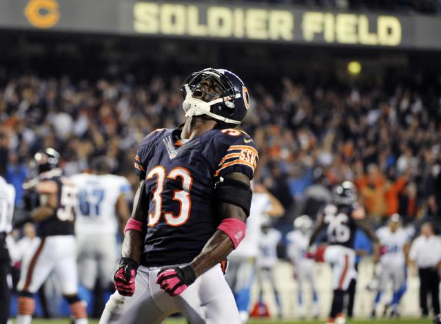 CHICAGO, IL- OCTOBER 22: Charles Tillman #33 of the Chicago Bears reacts after the Bears recovered a fumble against the Detroit Lions in the third quarter on October 22, 2012 at Soldier Field in Chicago, Illinois. (Photo by David Banks/Getty Images)