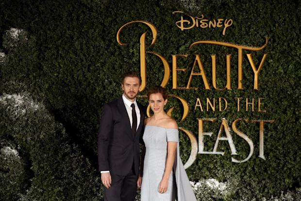 Actors Dan Stevens (left) and Emma Watson pose for photographers at a media event for the film Beauty and the Beast in London, Britain February 23, 2017. — Reuters pic