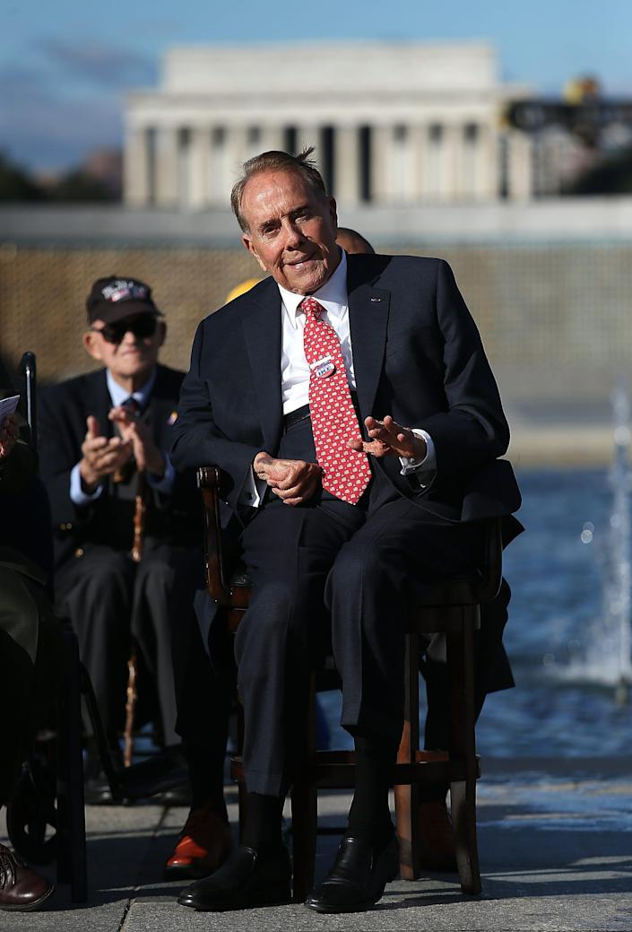 WASHINGTON, DC - NOVEMBER 11:  World War II veteran and former Sen. Bob Dole (R-KS) attends a Veterans Day ceremony at the National World War II Memorial November 11, 2015 in Washington, DC. Originally established as Armistice Day in 1919, the holiday was renamed Veterans Day in 1954 by President Dwight Eisenhower and honors those who have served in the U.S. military.  (Photo by Win McNamee/Getty Images) ORG XMIT: 591277817 ORIG FILE ID: 496695480