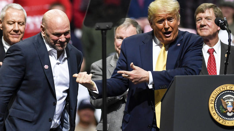 Donald Trump, pictured here introducing Dana White at the Broadmoor World Arena in February.