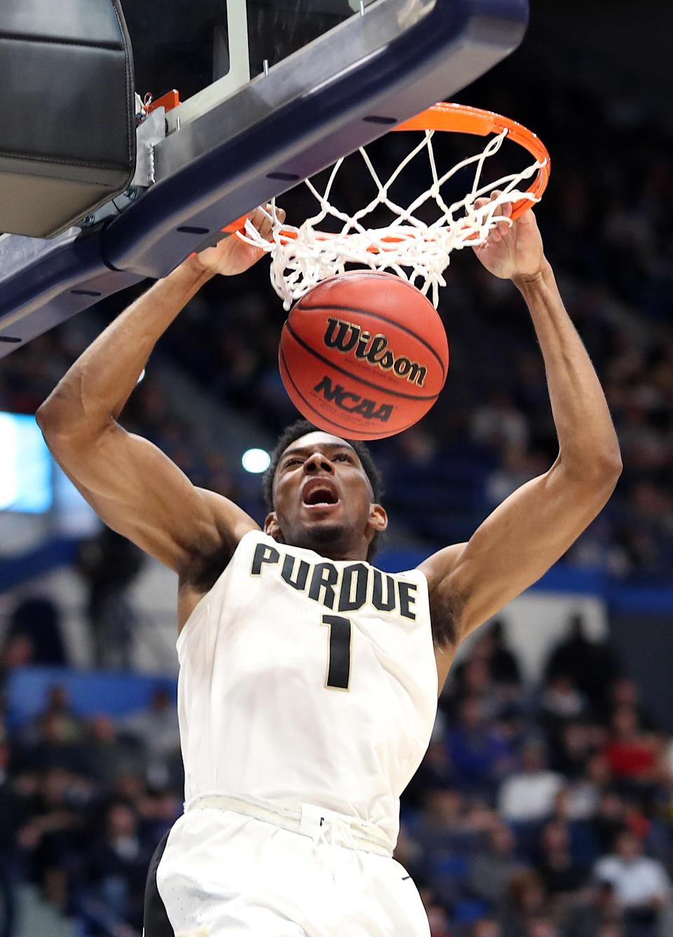 <p>Aaron Wheeler #1 of the Purdue Boilermakers dunks in the first half against the Old Dominion Monarchs during the 2019 NCAA Men's Basketball Tournament at XL Center on March 21, 2019 in Hartford, Connecticut. </p>
