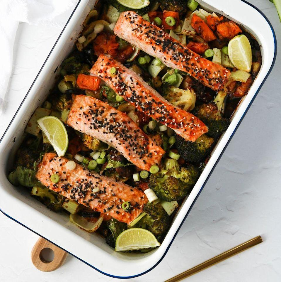 """<p>This teriyaki <a href=""""https://www.delish.com/uk/cooking/recipes/g29843028/healthy-salmon-recipes/"""" rel=""""nofollow noopener"""" target=""""_blank"""" data-ylk=""""slk:salmon"""" class=""""link rapid-noclick-resp"""">salmon</a> traybake is a great <a href=""""https://www.delish.com/uk/cooking/recipes/a35508459/sausage-pasta/"""" rel=""""nofollow noopener"""" target=""""_blank"""" data-ylk=""""slk:one-pot"""" class=""""link rapid-noclick-resp"""">one-pot</a> dish packed with colourful veggies including sweet potato, aubergine, broccoli, shiitake mushrooms and pak choi. A delicious all in one <a href=""""https://www.delish.com/uk/cooking/recipes/g33618956/salmon-traybake/"""" rel=""""nofollow noopener"""" target=""""_blank"""" data-ylk=""""slk:traybake"""" class=""""link rapid-noclick-resp"""">traybake</a> with so much colour, flavour and variety that everyone will love it.</p><p>Get the <a href=""""https://www.delish.com/uk/cooking/recipes/a35762840/teriyaki-salmon/"""" rel=""""nofollow noopener"""" target=""""_blank"""" data-ylk=""""slk:Teriyaki Salmon Traybake"""" class=""""link rapid-noclick-resp"""">Teriyaki Salmon Traybake</a> recipe.</p>"""