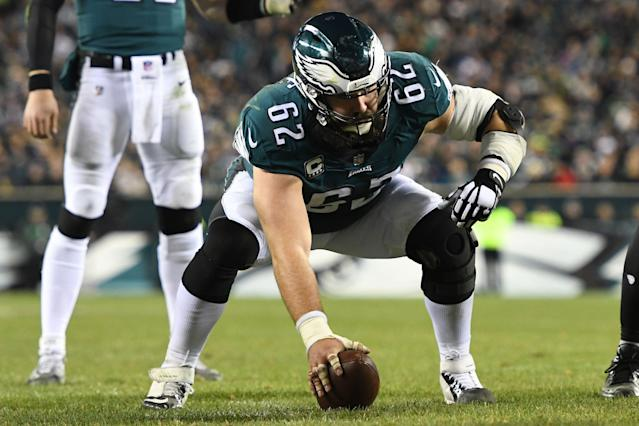 "<a class=""link rapid-noclick-resp"" href=""/nfl/teams/philadelphia/"" data-ylk=""slk:Philadelphia Eagles"">Philadelphia Eagles</a> center <a class=""link rapid-noclick-resp"" href=""/nfl/players/24978/"" data-ylk=""slk:Jason Kelce"">Jason Kelce</a> revealed on Monday that he played in 2018 despite three significant injuries, including a left elbow injury that required him to wear the bulky brace seen here. (Getty Images)"