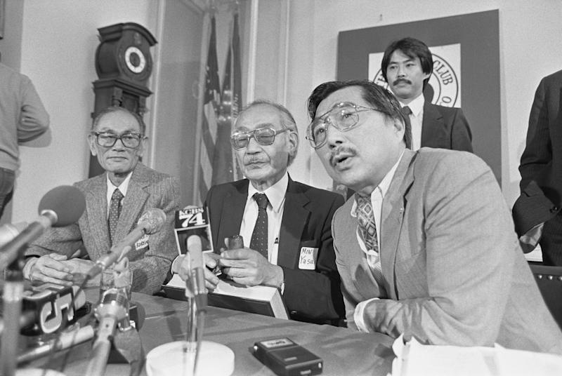 Fred Korematsu, Minoru Yasui and Gordon Hirabayashi, three Japanese-American civil rights advocates who challenged U.S. government policy during World War II. (Bettmann via Getty Images)