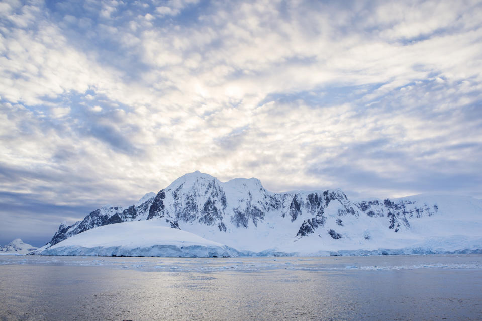 Antarctic, Antarctic Peninsula, snow covered mountains with ice and glacier in the morning