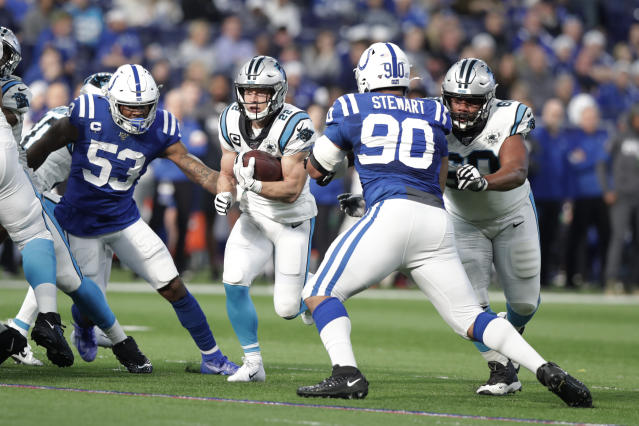 Carolina Panthers' Christian McCaffrey (22) runs against Indianapolis Colts' Darius Leonard (53) and Grover Stewart (90) during the first half of an NFL football game, Sunday, Dec. 22, 2019, in Indianapolis. (AP Photo/Michael Conroy)