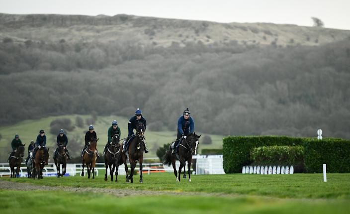 Horses work out under the shadow of Cleeve Hill ahead of the first day of the Cheltenham Festival, the showpiece event in the jumps racing calendar.