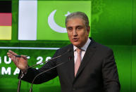 Pakistani Foreign Minister Shah Mahmood Qureshi speaks during a press conference with his German counterpart Heiko Maas after their meeting in Islamabad, Pakistan, Tuesday, August 31, 2021. Maas arrived in Islamabad on two-day visit to hold talks with Pakistani leadership to discuss bilateral matters, international issues and the current situation in Afghanistan. (AP Photo/Anjum Naveed)
