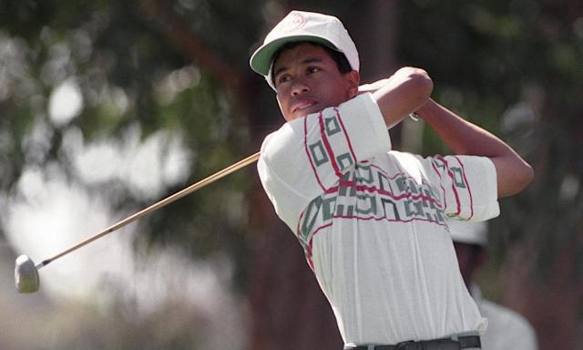 "<span class=""element-image__caption"">A 16-year-old Tiger Woods tees off at the Riviera Country Club in 1992.</span> <span class=""element-image__credit"">Photograph: Bob Galbraith/AP</span>"