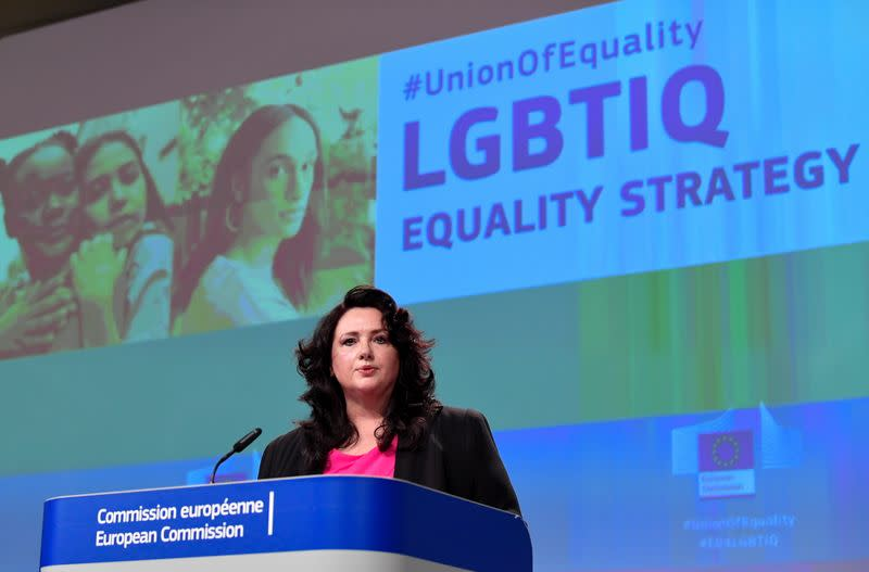 EU Commissioner for Equality Helena Dalli presents the bloc's strategy on equality and LGBTI+ in Brussels
