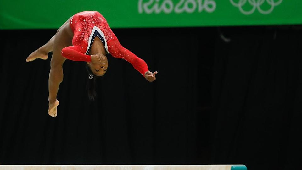 Olympic athlete Simone Biles performing one of her gymnastics routines in 2016.