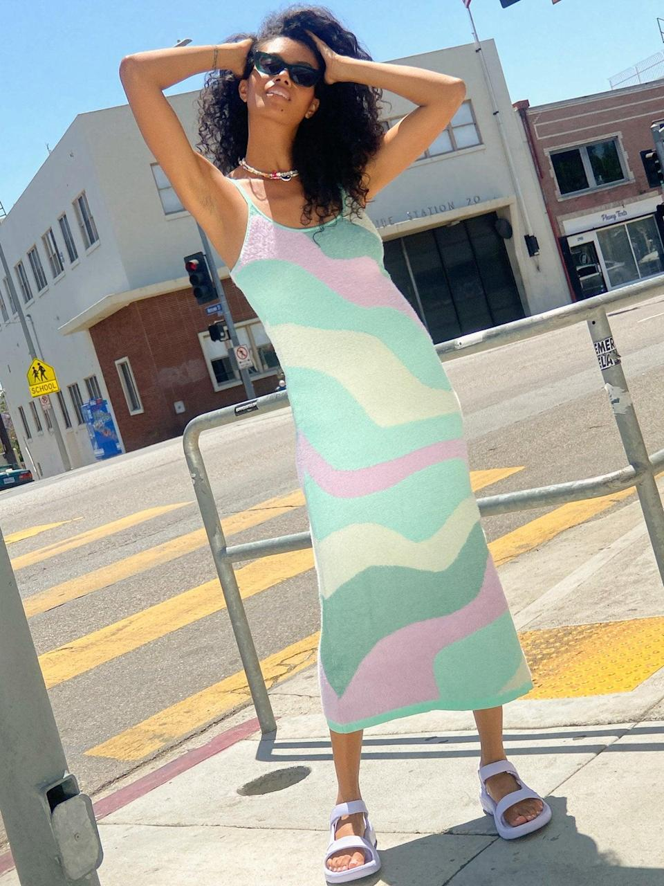 """<br><br><strong>House Of Sunny</strong> Good Vibrations Dress, $, available at <a href=""""https://go.skimresources.com/?id=30283X879131&url=https%3A%2F%2Flisasaysgah.com%2Fcollections%2Fdresses%2Fproducts%2Fgood-vibrations-dress-multi"""" rel=""""nofollow noopener"""" target=""""_blank"""" data-ylk=""""slk:Lisa Says Gah"""" class=""""link rapid-noclick-resp"""">Lisa Says Gah</a>"""