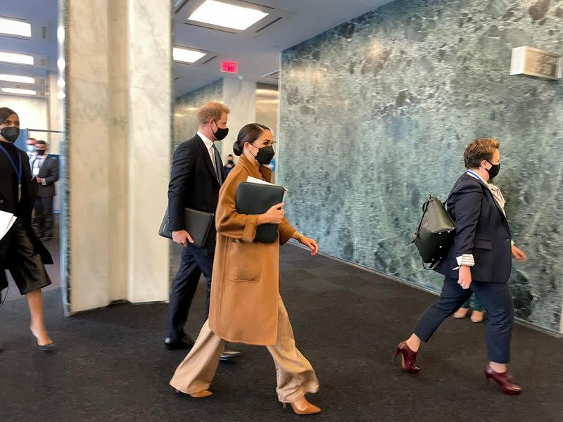 Prince Harry and Meghan Markle arrive at the United Nations