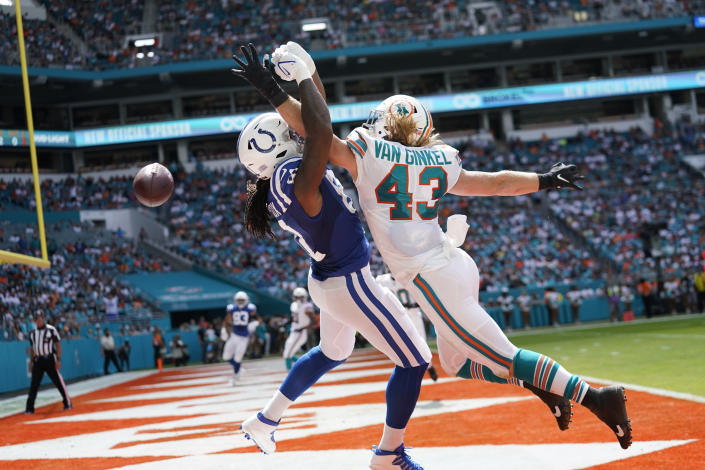 Miami Dolphins outside linebacker Andrew Van Ginkel (43) prevents Indianapolis Colts tight end Mo Alie-Cox (81) from catching a pass in the end zone, during the first half of an NFL football game, Sunday, Oct. 3, 2021, in Miami Gardens, Fla. (AP Photo/Lynne Sladky)