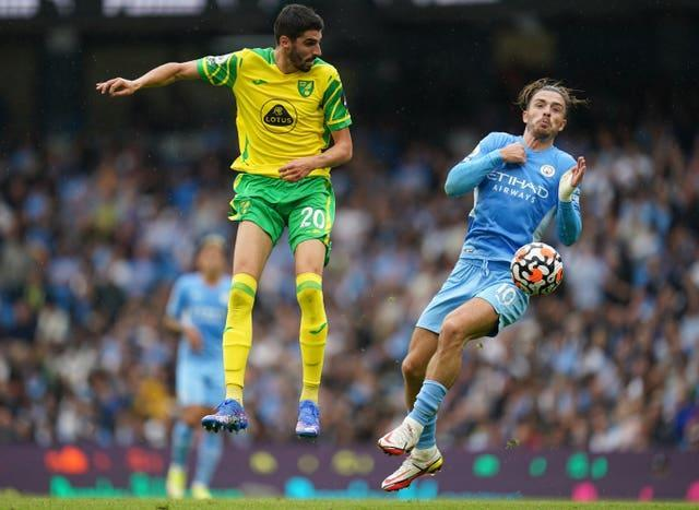 Jack Grealish, right, enjoyed an impressive home debut for Manchester City