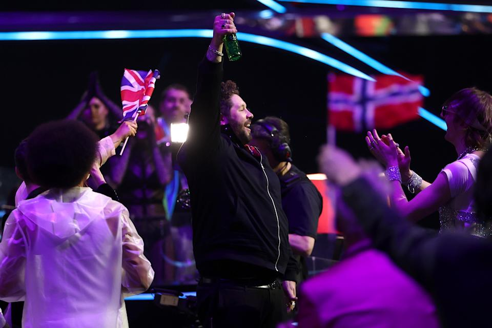 ROTTERDAM, NETHERLANDS - MAY 22: James Newman of United Kingdom reacts to receiving zero points during the 65th Eurovision Song Contest grand final held at Rotterdam Ahoy on May 22, 2021 in Rotterdam, Netherlands. (Photo by Dean Mouhtaropoulos/Getty Images)