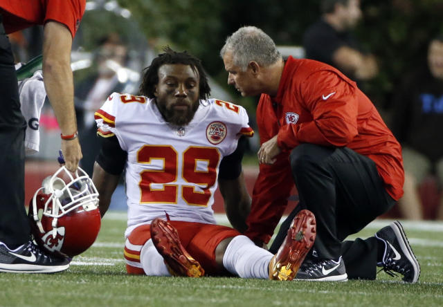 Eric Berry ruptured his Achilles tendon in Thursday night's season opener. (AP)