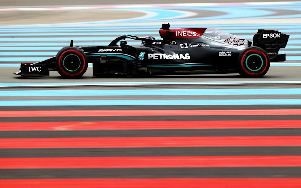Lewis Hamilton of Great Britain driving the (44) Mercedes AMG Petronas F1 Team Mercedes W12 on track during final practice ahead of the F1 Grand Prix of France at Circuit Paul Ricard on June 19, 2021 in Le Castellet, France - Formula 1/Formula 1 via Getty Images