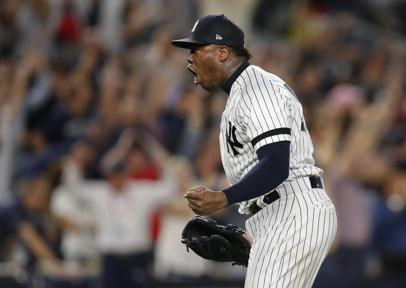 Yankees closer Aroldis Chapman threw 30 of 34 pitches over 100 mph Sunday night. (AP)