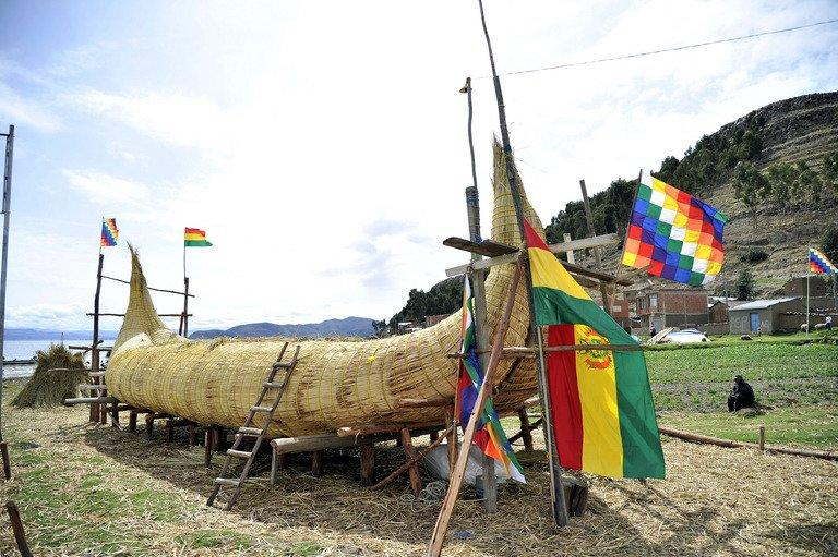 """A reed boat (also known as a """"Thunupa"""") is shown on on Suriqui island in Lake Titicaca, Bolivia, on December 2, 2012"""